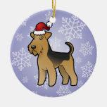 Navidad Airedale Terrier/Terrier galés Adorno Redondo De Cerámica