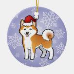 Navidad Akita Inu/Shiba Inu Adorno Redondo De Cerámica