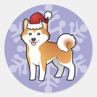 Navidad Akita Inu/Shiba Inu Pegatina Redonda