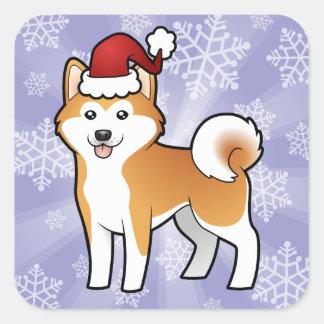 Navidad Akita Inu/Shiba Inu Pegatina Cuadrada