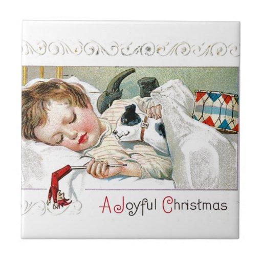 Navidad alegre azulejo cuadrado pequeño