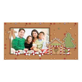 Navidad alegre - casa de pan de jengibre tarjetas fotográficas personalizadas