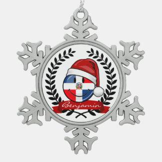 Navidad alegre de la bandera de la República Adorno De Peltre En Forma De Copo De Nieve