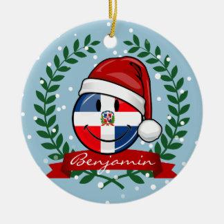 Navidad alegre de la bandera de la República Adorno Navideño Redondo De Cerámica