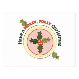 Navidad alegre del acebo postales