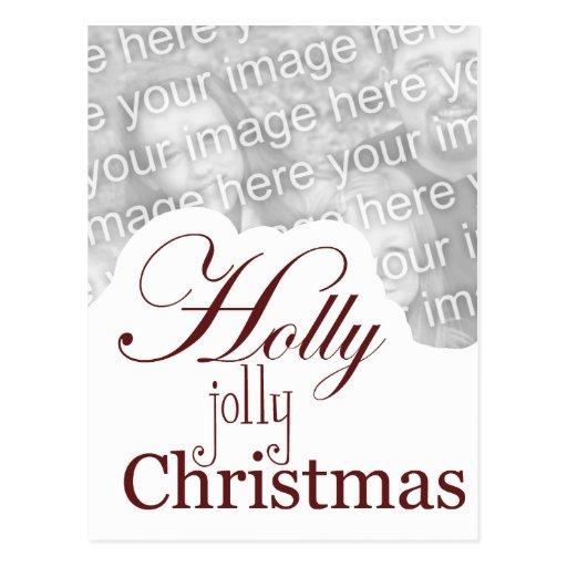 navidad alegre del acebo tarjeta postal