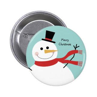 Navidad alegre del muñeco de nieve pin redondo de 2 pulgadas