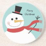 Navidad alegre del muñeco de nieve posavasos diseño