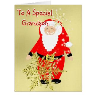 Navidad alegre del padre para un nieto especial tarjetón