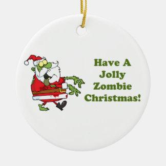 Navidad alegre del zombi adorno redondo de cerámica