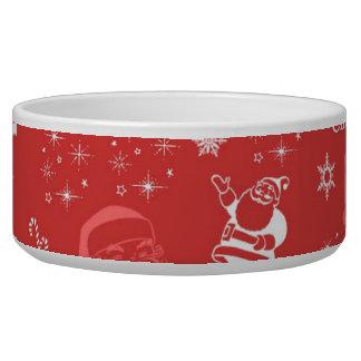 Navidad alegre festivo del padre tazones para perro