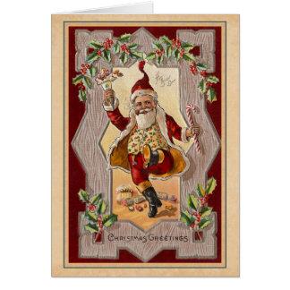 Navidad alegre Santa del vintage que baila una pla Felicitaciones