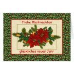 Navidad alemán de Frohe Weihnachten - Poinsettia Tarjeton