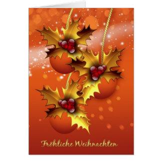 Navidad alemán elegante de Froehliche Weihnachten Tarjeta De Felicitación