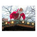 Navidad alemán Santa en el tejado Postal