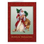 Navidad alemán - St.Nicolas, león, tarjeta del con