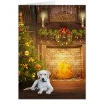 Navidad amarillo del laboratorio tarjetas