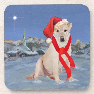 Navidad amarillo del labrador retriever posavasos