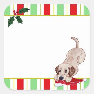 Navidad amarillo del perrito de Labrador y del gor Pegatinas Cuadradases Personalizadas