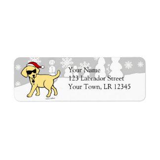 Navidad amarillo fresco del dibujo animado del lab etiquetas de remite