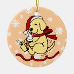 Navidad amarillo personalizado del dibujo animado  ornamento para arbol de navidad
