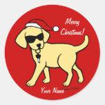 Navidad amarillo personalizado del dibujo animado pegatinas redondas