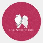 Navidad americano de Feliz Naughty Dog del perro Pegatina Redonda