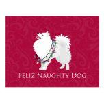 Navidad americano de Feliz Naughty Dog del perro Tarjetas Postales