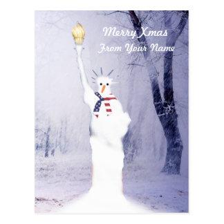 Navidad americano patriótico divertido del muñeco  tarjeta postal