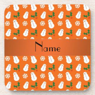 Navidad anaranjado conocido personalizado del muñe posavasos de bebida