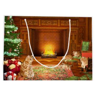 Navidad anaranjado de la familia de gato de tabby bolsa de regalo grande