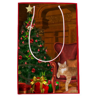 Navidad anaranjado del tabby bolsa de regalo mediana