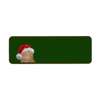 Navidad anaranjado del tabby etiquetas de remite