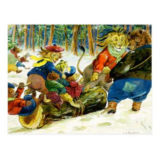 Navidad animal - conseguir el registro de Yule Tarjeta Postal