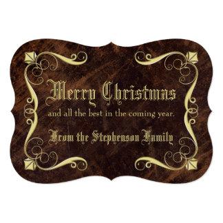 Navidad antiguo de la Cuero-mirada del vintage que Invitación 12,7 X 17,8 Cm