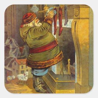 Navidad antiguo de Santa del juego del verde del Pegatina Cuadrada
