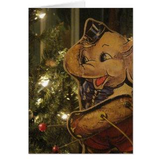 Navidad antiguo del juguete del elefante felicitación
