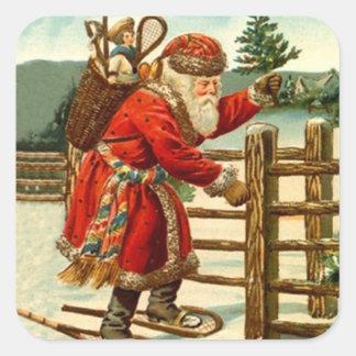 Navidad antiguo Snowshoeing de Papá Noel del Pegatina Cuadrada