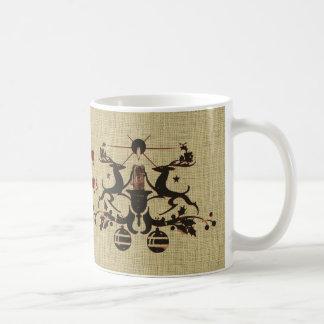 Navidad apenada vintage del navidad del reno de la tazas de café