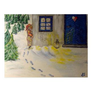 Navidad apenas alrededor de la esquina tarjetas postales