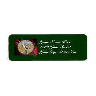 Navidad apoyado negro Caroling de la gaviota del n Etiquetas De Remite
