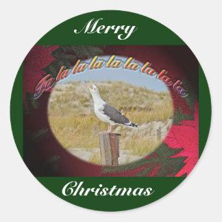 Navidad apoyado negro Caroling de la gaviota del Pegatina Redonda