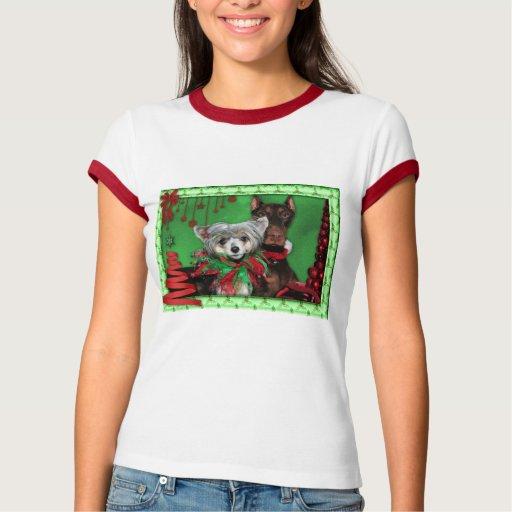 Navidad - árbol de cinta rojo - Doberman Crestie Playera