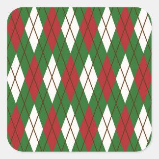 Navidad Argyle Pegatina Cuadrada