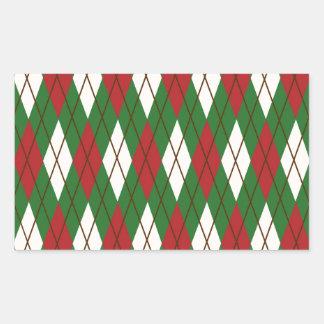 Navidad Argyle Pegatina Rectangular