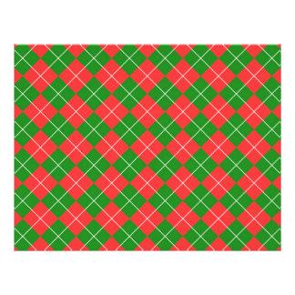 """Navidad Argyle - verde, rojo y blanco Folleto 8.5"""" X 11"""""""