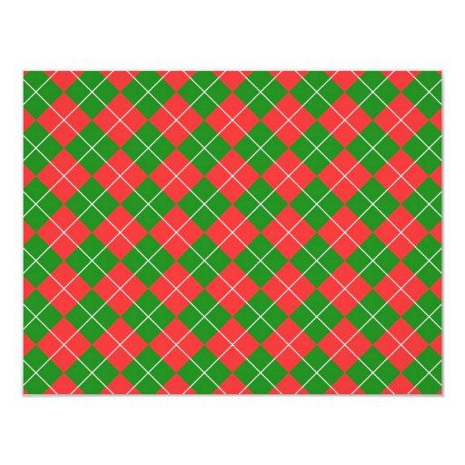 Navidad Argyle - verde, rojo y blanco Invitación Personalizada