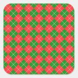 Navidad Argyle - verde, rojo y blanco Calcomania Cuadradas