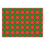 Navidad Argyle - verde, rojo y blanco Tarjetón