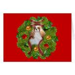 Navidad arrogante CardWreath del perro de aguas de